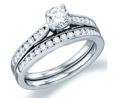 Diamond Engagement Ring Wedding Set Solitaire 14k White Gold (.97ct) #Diamond #wedding #Bridal #Ring #fashion #Jewelry #White