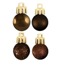 """18ct Chocolate Brown 4-Finish Shatterproof Christmas Ball Ornaments 1.25"""" (30mm)"""