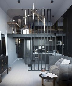 Un mini loft gris en Russie Un mini loft gris en Russie - PLANETE DECO a homes world Studio Apartment Divider, Small Studio Apartment Design, Apartment Decoration, Small Studio Apartments, Small Apartment Decorating, Apartment Living, Apartment Ideas, Bedroom Apartment, Diy Decoration