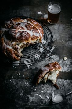 Soft and fluffy beer bread stuffed with sweet pecan filling and topped with a yoghurt citrus drizzle! Anisa Sabet | The Macadames | Food Styling | Food Photography | Props | Moody | Food Blogger | Recipes
