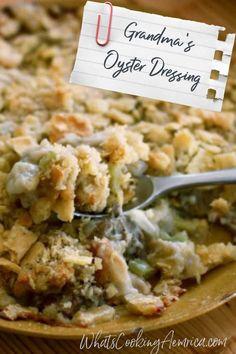 Thanksgiving Turkey Dinner, Stuffing Recipes For Thanksgiving, Holiday Recipes, Thanksgiving Dressing, Seafood Recipes, Cooking Recipes, Cooking Stuff, Oyster Casserole Recipe, Oyster Dressing