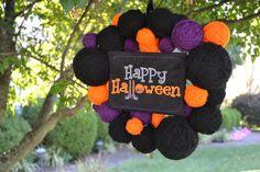 Happy Halloween yarn ball wreath by ShuhpuppyAndDeppy on Etsy, $30.00