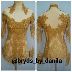 Gold embroidery&beading applique kebaya