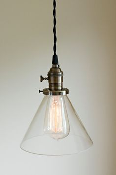 Vintage style clear 7 glass cone pendant by OldeBrickLighting, $96.00