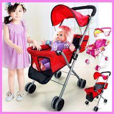 >> Click to Buy << Iron Baby Toys Stroller for Girls Play Pushchair Walkers Children Stroller for Dolls Umbrella Pram 2~4 Y #Affiliate