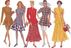 90s Vogue Peplum Top and Skirt, Flared or Sheath Skirt, Length and Sleeve Options, Size 6-8-10, Bust 30-31-32 Sewing Pattern 2880 by TheGrannySquared on Etsy