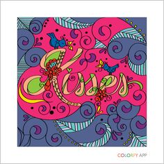 """Colorfly: Adult Coloring -""""Kisses"""""""
