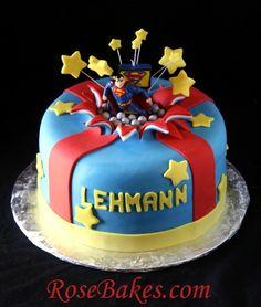 Superman Bursting Out of the Cake (Exploding Cake Tutorial): Part 1 Superman Exploding Out of a Cake – Rose Bakes Fondant Cakes, Cupcake Cakes, Exploding Cake, Superman Birthday, Superman Party, Boy Birthday, Birthday Parties, Tie Dye Cakes, Superman Cakes