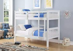 Groupon - Harmony Wooden White Bunk Bed with Optional Single Mattresses With Free Delivery. White Wooden Bunk Beds, Pine Bunk Beds, Design Your Home, House Design, Single Bunk Bed, Bed Furniture, Furniture Shopping, White Bedding, Guest Bedrooms