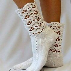 Neat - Crochet cuffs to purchased ankle socks. I use crochet edgings on babies undershirts, receiving blankets, etc. Crochet Boot Cuffs, Crochet Boots, Crochet Slippers, Knit Or Crochet, Knitting Socks, Crochet Crafts, Crochet Clothes, Crochet Horse, Crochet Motifs
