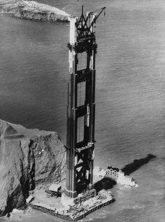 Golden Gate Bridge under construction, California