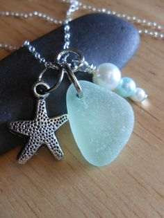 Sea Glass Jewelry  Seaglass Cluster Necklace  by SeaFindDesigns, $30.00