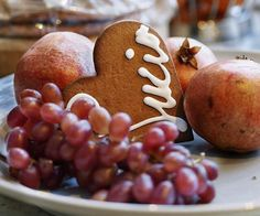 Simple cookies with grapes and pomegranate