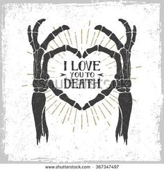 Illustration of Hand drawn textured romantic poster with skeleton hands forming a heart vector illustration on the white background. vector art, clipart and stock vectors. Document Sign, Skeleton Hands, Skeleton Girl, Heart Hands Drawing, Vector Hand, Banner Printing, Edge Stitch, Skull Art, Illustrations Posters