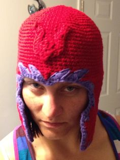 Magneto helmet crochet hat don't think this a pattern but mom you need to find it!! lol
