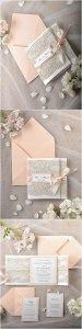 Peach Vintage Lace Coral Wedding Invitations