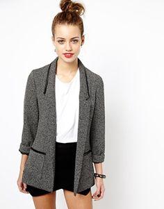New Look Birdseye Leather Look Trim Blazer