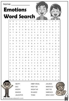 Check out this fun free Emotions Word Search, free for use at home or in school Emotion Words, Feelings Words, Feelings And Emotions, Therapy Worksheets, School Worksheets, Worksheets For Kids, Inside Out Emotions, Kids Word Search, Free Printable Word Searches