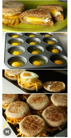 Who doesnt love a great egg and cheese breakfast sandwich? Heres how you can make a dozen at a time, freeze them for later, and reheat them on a busy weekday! Great way to skip the fast food drive through lanes!