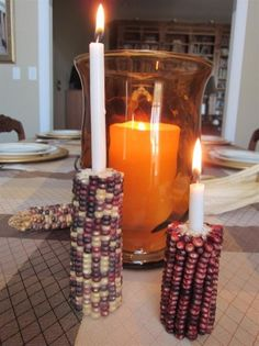 Indian corn candle holders great idea for thanks giving
