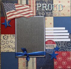 12x12 Premade scrapbook layout Proud to Serve. $13.99, via Etsy.