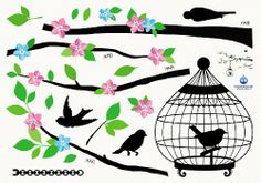 (14x20) Color Blossom and Birds in Tree Silhouette Repositional Wall Decal - http://decorwalldecals.com/14x20-color-blossom-and-birds-in-tree-silhouette-repositional-wall-decal/