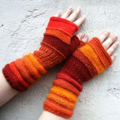 Unmatched Hand Knit Fingerless Mittens -Tangerine - warm and fuzzy wrist warmers in wool and mohair