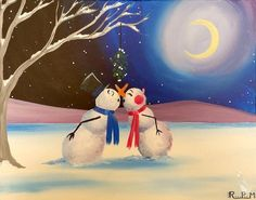 Painting Parties in Indianapolis, IN - Painting Parties in Indianapolis, IN How to Paint Mistletoe Wishes & Snowman Kisses Christmas Drawing, Christmas Paintings, Snowmen Paintings, Christmas Canvas, Christmas Art, Xmas, Moonlight Painting, Couple Painting, Winter Painting