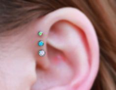 Exclusively at MyBodiArt - Opal Ear Piercings for Triple Forward Helix Piercing Jewelry