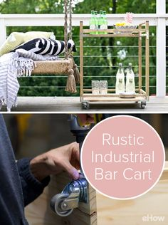 DIY a rustic industrial bar cart that is both beautiful and functional! All you need are a few simple materials from the local hardware store and an afternoon. DIY here: http://www.ehow.com/how_12343300_diy-rustic-industrial-bar-cart.html?utm_source=pinterest.com&utm_medium=referral&utm_content=freestyle&utm_campaign=fanpage