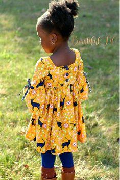 DIY Girls Flutter Sleeve Bell Sleeve Dress Sewing Pattern