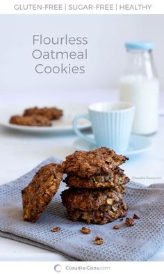 Flourless Oatmeal And Apple Cookies - Deliciously soft and guilty-free cookies. They are naturally sweetened and they are perfect for breakfast, as a snack or even as dessert. Flourless Oatmeal Cookies, Healthy Oatmeal Cookies, Brunch Recipes, Breakfast Recipes, Dessert Recipes, Vegetarian Breakfast, Gluten Free Recipes, Healthy Recipes, Healthy Desserts
