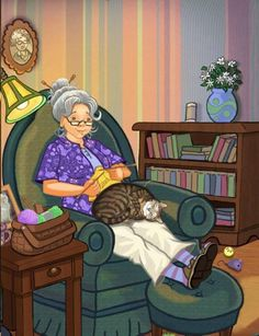 Knitting with cat