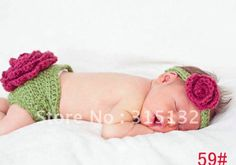crochet baby photo prop | ... baby hat and shorts handmade crochet baby photography props 0-6 Months