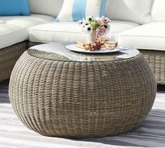 Pottery Barn Torrey All-Weather Wicker Coffee Table Pouf, Natural Coffee Table Pouf, Coffee Table Pottery Barn, Round Coffee Table, Patio Side Table, Diy Outdoor Table, Outdoor Coffee Tables, Outdoor Living, Side Porch, Outdoor Seating