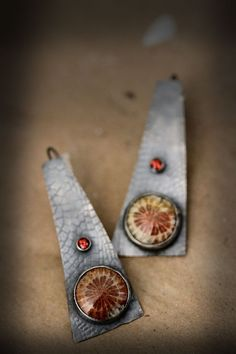 ☮ American Hippie Bohemian Style Boho Jewelry ~ Earrings . . Fossilized Coral Garnets Set in Antiqued Sterling