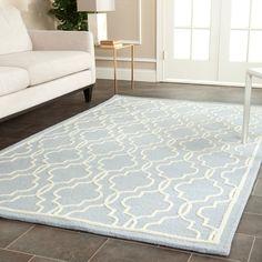 Safavieh Handmade Moroccan Cambridge Light Blue Wool Rug (8' x 10')