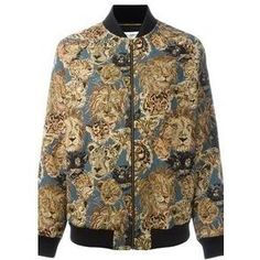 Saint Laurent Lion Jacquard Bomber Jacket as seen on Lady Gaga