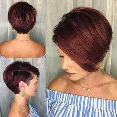 Here are 15 astonishing short bob haircuts for pretty women, from Short-Haircut. - Here are 15 astonishing short bob haircuts for pretty women, from Short-Haircut: The long bob ha - Short Bob Haircuts, Long Bob Hairstyles, Haircut Short, Red Pixie Haircut, Trendy Haircuts, Layered Haircuts, Bobs For Thin Hair, Great Hair, Hair Dos
