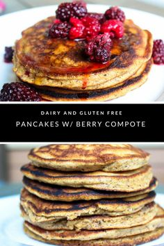 Dairy & Gluten free pancakes with a homemade mixed berry syrup