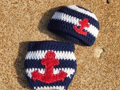 Crochet Nautical Anchor Hat and Diaper Cover Crochet Baby Hats, Diy Crochet, Crochet Crafts, Crochet Projects, Sewing Crafts, Crochet Anchor, Nautical Crochet, Nautical Anchor, Nautical Baby