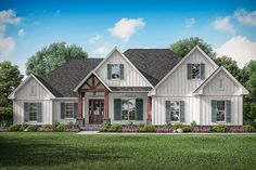 Find your dream modern-farmhouse style house plan such as Plan which is a 2358 sq ft, 3 bed, 2 bath home with 2 garage stalls from Monster House Plans. Modern Farmhouse Plans, Farmhouse Design, Farmhouse Style, Farmhouse Front, Country Style House Plans, Craftsman Style House Plans, Craftsman Houses, Country Life, Cottage Style