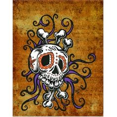 Sugar Skull Song by David Lozeau Tattoo Art Canvas Print. David Lozeau has a character-driven style that is a quirky blend of Mexican folk art, cartoon-cell animation, traditional tattoo imagery, and pure Southern California lowbrow. Memento Mori, Tattoo Studio, Zombies, Sugar Skull Art, Sugar Skulls, Day Of The Dead Skull, Music Tattoos, Mens Tattoos, Skull Tattoos