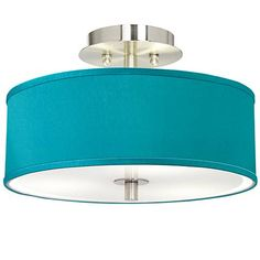 """Teal Blue Faux Silk 14"""" Wide Brushed Steel Ceiling Light - #T6396-4D242   Lamps Plus"""