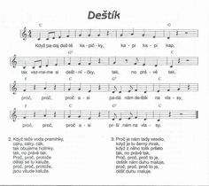 Deštík - noty Kids Songs, Sheet Music, Thats Not My, Montessori, How To Plan, Education, School, Ms, Songs For Children