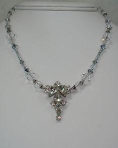 Repurposed Jewelry Vintage Pendant Crystal by JanetMarieJewelry