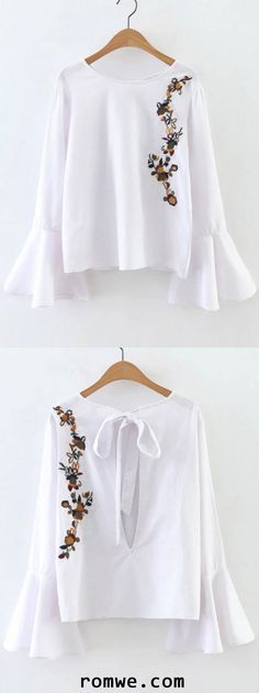 White Flower Embroidery Bell Sleeve Cutout Blouse White Long Sleeve Dress, Lace Dress With Sleeves, Bell Sleeve Dress, Chiffon Dress, Embroidery Fashion, Flower Embroidery, Petite Dresses, Boutique Dresses, Cool Outfits