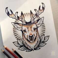 #deer #sevastopol #tattoo #sketch #ageevtattoo #drawing #sevastopoltattoo #flash #traditional #Ukraine #pencil #horns #glow