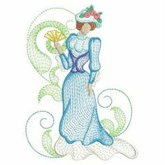 Rippled Victorian Lady 02(Lg) machine embroidery designs