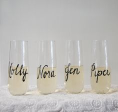 Stemless champagne flute with personalized name in hand written calligraphy by StyleDahlia on Etsy
